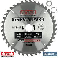 Draak 230mm x 30mm Bore 40 Tooth TCT Circular WOOD Saw BLADE Makita Bosch