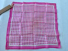 vintage glentex hand rolled silk pink polka dot scarf