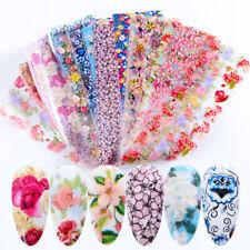 16 Pcs 20X4 cm Lovely Flower Nail Foil Sticker Transfer Mixed Colors Manicure