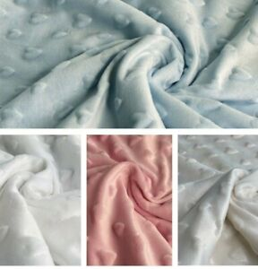 """Heart Supersoft Dimple Fleece Fabric Plush Cuddle Blanket , Robe ,Soft 59"""" wide"""