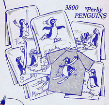 Embroidery Transfer 3800 Perky Penguins for Days of the Week kitchen towels