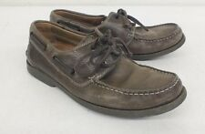 ECCO Brown Leather Water Repellent Boat Shoes EU 40 US Men's 7 Fast Shipping