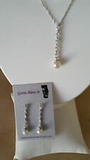 SPECIAL OCCASION & BRIDAL CUBIC ZIRCONIA PEARL NECKLACE & EARRING SET