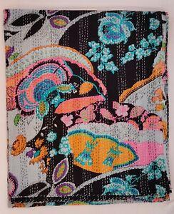 New Hand Block Print Indian Kantha Quilt Blanket Cotton Coverlet Bedding V