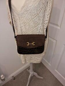 Vintage Brown Faux Croc Patent Shoulder bag