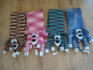 HAND KNITTED CHILDS KIDS LONG SCARF - DOOGLE DOG - CHOOSE FROM - 4 COLOURS
