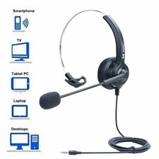3.5mm Wired Computer Over Ear Headset Headphone for Call Center PC Laptop Phone
