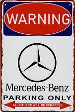 """Retro Blechschild Vintage Nostalgie look 20x30cm """"Mercedes Benz parking"""" neu"""