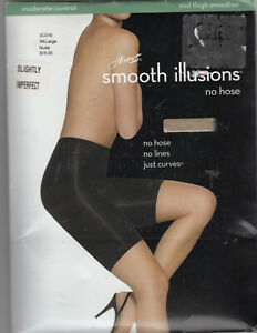 HANES Smooth Illusions NO HOSE- NUDE 2XL XXL-MID THIGH SMOOTHER Moderate Control