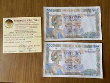LOTTO 2 BANCONOTE CONSECUTIVE BANCA DI FRANCIA 500 FRANCHI LA PAIX 17 10 1940