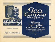 Ica Kamera Kinamo Dresden Reklame 1926 Filme dich selbst Film Photo Bedarf Foto