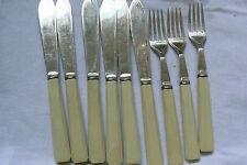 Vintage EPNS Silverplate Flatware Fish Fork Knife lot of 9 pc.Celluloid Handles
