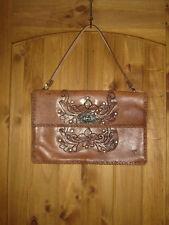 Vintage Leather Hand Tooled Purse Carved Butterfly Bag Handbag Ladies Brown
