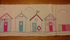 4 Pink Blue Beach Houses With Windbreak 37cm x 15cm Material For Patchwork