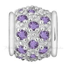 Lovelinks Bead Sterling Silver, Silver Barrel Amethyst CZ Charm Jewelry TT214AM