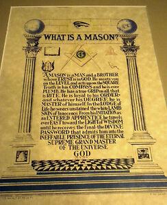 Masonic What is a Mason? color art print poster Freemasonry ring