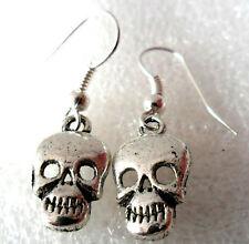 dangle earrings - 15mm Tibetan silver style skulls
