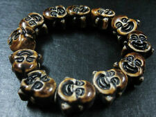 2pcs tibet men's Monk smile Face Arhat Head Buddha Bead bracelets lucky Jewelry