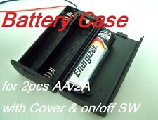 Battery Box Holder Batteries Case for 2 packs AA, 2A  3V with Cover / Switch