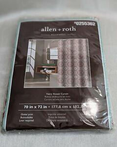 "allen + roth Fabric Shower Curtain 70 X 72"" #0255362 100% Polyester Orange/Brown"