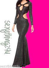 Black Gun Metal Sparkles Long Maxi Dress  Cut Out Accents   Size S/M 8-10
