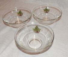 "NIKKO ""Happy Holidays"" Clear Glass Round Bowls"