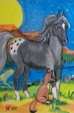 aceo horse print, moon pony coyote pup glossy photo paper Limited ed. art by Ott