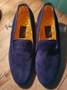 New & Lingwood Blue Velvet Slippers With Gold Silk Lining size 8 1/2