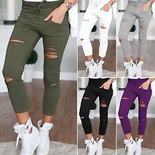 Womens Ripped Knee Cut Jeggings Pants Skinny Stretch Denim Jeans Sports Leggings