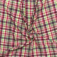 Red Navy Green 100% Cotton Yarn-Dyed Madras Plaid Fabric Sold by the Yard