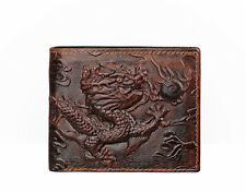 Real Leather Mens Bifold Dragon Wallet Brown Credit Card Holder Cool Style