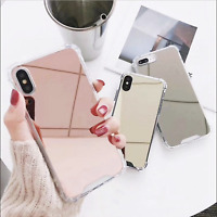 Mirror Phone Case For iPhone 7 8 Plus XS MAX TPU Airbag Edge Hard PC Back Cover