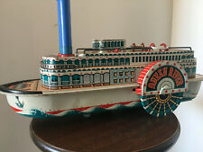 Vintage Tin Litho Toy Paddle Steamboat, Queen River Modern Toys Japan