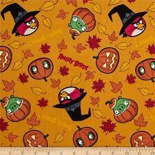 1 yd_David textiles_Halloween_angry birds_orange_black_cotton_quilt fabric_OOP