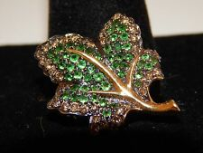 18k LEAF Pendant Charm Brooch Pin Designer Fancy Brown Diamond Tsavorite Garnet