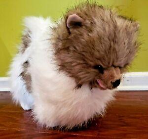 "MELISSA & DOUG JUMBO 22"" DOG POMERANIAN PLUSH STUFFED WHITE GRAY RARE & CUTE"
