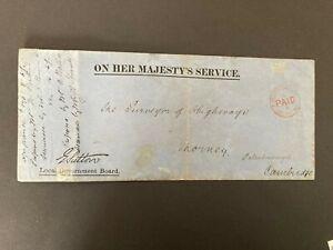 Postal History GB QV OHMS Env. to Thorney, Cambridgeshire 'Paid' Postmark 1878