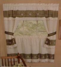 Berkshire Embellished Cottage Set 58 x 36 Complete Window Set Valance Tiers Ties
