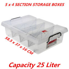 4PK BoxSweden 25L 4 Section Storage Box w/ Removable Divider Container Organiser