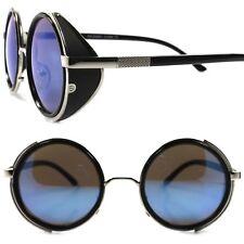 Side Shield Indie Retro Goth Steampunk Style Blue Mirror Lens Round Sun Glasses