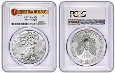 "2017 Pcgs Ms-70 Silver Eagle Ase $1 ""First Day Issue, 1 of 2000"" Label"