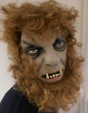 Werewolf Halloween Fancy Dress Latex Wolf Full Face Mask With Hair