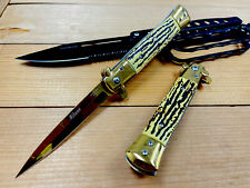 "9"" GDSTG Italian Milano Stiletto Spring Assisted Folding Pocket Knife. Survival"