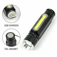 Mini 50000LM COB Rechargeable LED Flashlight Zoomable T6 torch Side Work Light