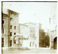 Francia Italia Place Da Village c1910, Foto Stereo Vintage Placca Lente VR5L7