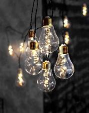 """LED Lichterkette 10 """"Glühbirnen"""" á 5 LEDs Glas Innendeko 3,6m +5m Zul."""