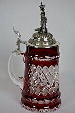 Lord Of Crystal King Werk Red German Beer Stein Bohemian 25oz #67 of 500 NEW!