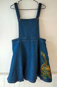 DANGERFIELD Falkor Dragon Denim Pinafore Dress - Size 16