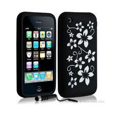 Housse coque etui silicone pour Apple Iphone 3G/3Gs motif fleur couleur noir + S