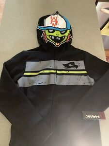 Tony Hawk Boys Size M Mask Skater Boy Full Zip Hoodie New Skatepunk Sweatshirt